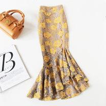 skirt Spring 2021 S,M,L,XL,2XL,3XL,4XL longuette grace High waist skirt Decor Type A More than 95% Lace Ocnltiy cotton 161g / m ^ 2 (including) - 180g / m ^ 2 (including)