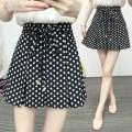 skirt Summer 2020 S,M,L,XL,2XL,3XL,4XL Black with elastic back waist Short skirt commute High waist Pleated skirt Dot Type A QH Chiffon other Bow, fold, zipper Korean version