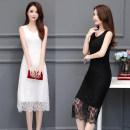 Dress Summer of 2019 White, black XL,2XL,3XL,4XL,5XL Mid length dress singleton  Sleeveless commute Crew neck middle-waisted routine camisole Type A Korean version Crochet, openwork, lace cotton