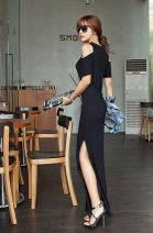 Dress Summer of 2018 Black modal XS,S,M,L,XL,XXL,XXXL longuette singleton  Short sleeve street Crew neck Elastic waist Solid color Socket One pace skirt Lotus leaf sleeve camisole 25-29 years old Mr. Fu 91% (inclusive) - 95% (inclusive) knitting modal  Europe and America