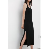 Dress Summer of 2018 Black modal XS,S,M,L,XL,XXL,XXXL Mid length dress singleton  Sleeveless street Crew neck Elastic waist Solid color Socket Pencil skirt routine camisole Type X Mr. Fu 91% (inclusive) - 95% (inclusive) knitting modal  Europe and America