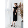 Dress Summer of 2018 Black modal XS,S,M,L,XL,XXL,XXXL Mid length dress singleton  Short sleeve street Crew neck High waist Solid color Socket Pencil skirt routine Others Type H Mr. Fu Holes, hollowing, patching, splicing, three-dimensional decoration, asymmetry, mesh, lace knitting modal
