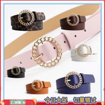 Belt / belt / chain Pu (artificial leather) Black, white, coffee, camel, Navy, pink, leopard female belt leisure time Single loop Round buckle alloy alone 4D91D060 105cm
