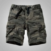 Casual pants yzgf Youth fashion routine Shorts (up to knee) Other leisure easy Micro bomb summer youth Military brigade of tooling 2018 middle-waisted Straight cylinder Cotton 100% Overalls Pocket decoration Make old camouflage Khaki cotton Summer of 2018 Pure e-commerce (online only) More than 95%