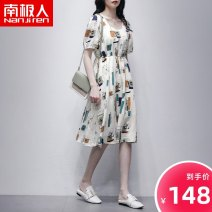Dress Spring 2021 Decor M L XL Mid length dress singleton  Short sleeve commute Crew neck middle-waisted Decor Socket A-line skirt routine 30-34 years old NGGGN Korean version printing NJR-W212L1225 More than 95% polyester fiber Polyester 100%
