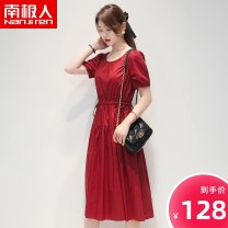 Dress Spring 2021 Red blue S M L Mid length dress singleton  Short sleeve commute Crew neck High waist Solid color Socket A-line skirt routine 25-29 years old NGGGN Korean version Frenulum NJR-217030-1 51% (inclusive) - 70% (inclusive) cotton
