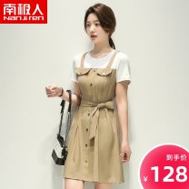 Dress Spring 2021 Blue Khaki S M L XL Mid length dress Fake two pieces Short sleeve commute Crew neck Solid color Socket A-line skirt routine 25-29 years old NGGGN Korean version Lace up button NJR-217012 30% and below polyester fiber Viscose (viscose) 91.7% polyester 8.3%