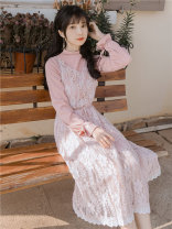 Dress Autumn of 2019 Picture color S,M,L longuette Two piece set Long sleeves commute V-neck High waist Solid color zipper A-line skirt pagoda sleeve camisole Type A Other / other Retro 81% (inclusive) - 90% (inclusive) Lace