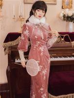 Dress Winter 2020 Lotus root Pink S,M,L,XL longuette Long sleeves High collar High waist Decor zipper One pace skirt routine T-type polyester fiber