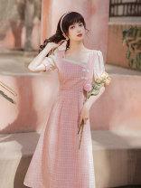 Dress Summer 2021 Blue, pink S,M,L,XL longuette Short sleeve square neck High waist lattice zipper A-line skirt puff sleeve Type A Splicing Chiffon