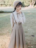 Dress Winter of 2019 Shirt + suspender skirt S,M,L longuette Two piece set Long sleeves commute Scarf Collar High waist houndstooth  zipper A-line skirt bishop sleeve straps Type A Retro Bow, button