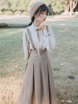 Dress Winter of 2019 Shirt + suspender skirt S,M,L longuette Two piece set Long sleeves commute Scarf Collar High waist houndstooth  zipper A-line skirt bishop sleeve straps Type A Retro Bow, button