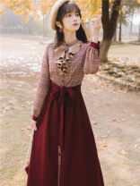 Dress Autumn 2020 Red check S,M,L longuette singleton  Long sleeves commute stand collar High waist lattice Single breasted Big swing shirt sleeve Type A Retro Stitching, bows, ruffles