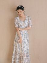 Dress Summer 2021 Picture color S,M,L longuette singleton  Short sleeve square neck High waist Decor zipper A-line skirt puff sleeve Type A Chiffon