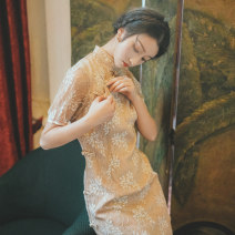 cheongsam Summer of 2019 L,M,S,XS Apricot Short sleeve long cheongsam Retro Low slit daily Oblique lapel Solid color 18-25 years old