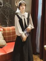 Dress Winter of 2019 Shirt + suspender skirt S,M,L longuette Two piece set Long sleeves commute Scarf Collar High waist Solid color zipper A-line skirt bishop sleeve straps Type A Retro Bow, button
