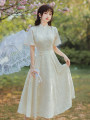 Dress Summer 2021 Picture color S,M,L Mid length dress singleton  Short sleeve stand collar High waist zipper A-line skirt pagoda sleeve Type A 51% (inclusive) - 70% (inclusive) Chiffon