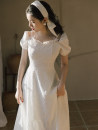 Dress Summer 2021 White, black S,M,L longuette singleton  Short sleeve square neck High waist zipper A-line skirt routine Type A Lace