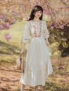 Dress Summer 2021 Apricot S,M,L longuette singleton  elbow sleeve Crew neck High waist Decor zipper puff sleeve Type A Embroidery, stitching
