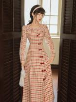 Dress Autumn 2020 Red lattice S,M,L longuette Two piece set Long sleeves commute Crew neck High waist Solid color zipper routine Type A Retro Button, zipper
