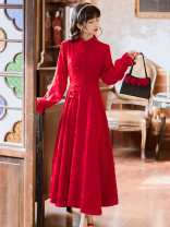 Dress Winter 2020 gules S,M,L longuette singleton  Long sleeves commute stand collar High waist Solid color zipper Big swing pagoda sleeve Type A Retro Tassel, stitching, button polyester fiber
