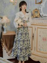Fashion suit Winter 2020 S,M,L,XL Shirt + floral strap skirt