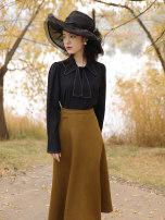 Fashion suit Autumn 2020 S,M,L,XL Shirt + Khaki Skirt