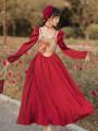 Dress Spring 2021 gules S,M,L longuette singleton  square neck High waist Decor zipper Big swing routine Type A