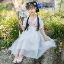 Dress female Yibailido Polyester 100% summer ethnic style Ru skirt polyester stripe Princess Dress YBL2156455 12 months, 18 months, 2 years old, 3 years old, 4 years old, 5 years old, 6 years old and 7 years old Summer 2021 Rainbow skirt - Pink 90cm 100cm 110cm 120cm 130cm 140cm