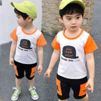 suit Yibailido 90cm 100cm 110cm 120cm 130cm male summer leisure time Short sleeve + pants 2 pieces Thin money There are models in the real shooting Socket nothing Cartoon animation cotton children Expression of love Cotton 75% polyester 25% Summer 2021
