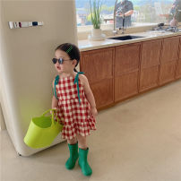 Dress Yellow, red female Other / other 90cm,100cm,110cm,120cm,130cm Cotton 100% summer Korean version lattice cotton A-line skirt other 12 months, 18 months, 2 years old, 3 years old, 4 years old, 5 years old, 6 years old, 7 years old
