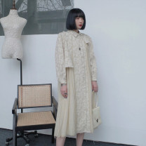 Dress Spring 2021 S,M,L Mid length dress singleton  Long sleeves commute Polo collar Loose waist Single breasted Irregular skirt puff sleeve Type A UMILAB Simplicity Splicing, asymmetric D851 71% (inclusive) - 80% (inclusive) other