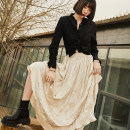 skirt Spring 2021 S,M,L Apricot , Quiet black Mid length dress commute High waist A-line skirt Solid color Type A D860 More than 95% other UMILAB fold Simplicity