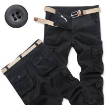 Casual pants Enweg Youth fashion 28,29,30,32,34,36,38,40,42,44 thick trousers Other leisure easy Micro bomb Four seasons middle age tide 2019 High waist Straight cylinder Polyester 100% Overalls Pocket decoration No iron treatment Solid color other cotton cotton Fashion brand More than 95%