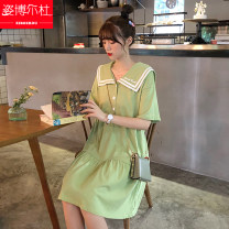 Dress Summer 2020 Green white yellow black blue pink purple S M L Mid length dress singleton  Short sleeve commute Crew neck High waist Solid color Socket Big swing routine Others 18-24 years old Type A Zibordu Korean version Bow fold pocket with stitched button print XSZ20042101 cotton