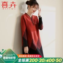 Middle aged and old women's wear Spring 2021 L (within 110 kg recommended) XL (110-125 kg recommended) 2XL (125-140kg recommended) 3XL (140-160kg recommended) fashion Knitwear / cardigan easy singleton  Solid color 40-49 years old Socket thick V-neck Medium length routine Xil Lui / Xihui longuette