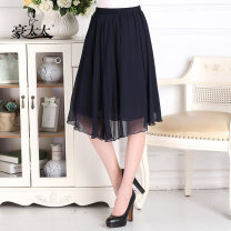 Middle aged and old women's wear Summer 2021 black Recommended for 90-150 kg fashion skirt easy singleton  Solid color 50-59 years old thin 17-Q-1733 Mrs. Howe silk Silk 50% polyester 50% 31% (inclusive) - 50% (inclusive) Middle-skirt Pleated skirt