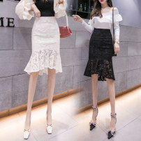 skirt Summer 2021 S,M,L,XL Mid length dress commute High waist skirt Solid color Type A 18-24 years old GH 51% (inclusive) - 70% (inclusive) other other Asymmetric, zipper Korean version