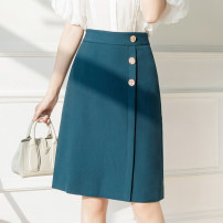 skirt Summer 2021 S,M,L,XL Blue, black Middle-skirt commute High waist Irregular Solid color Type A 18-24 years old GH 51% (inclusive) - 70% (inclusive) other other Button Korean version