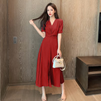 Dress Summer 2021 S,M,L,XL longuette singleton  Short sleeve commute V-neck High waist Solid color Socket A-line skirt shirt sleeve 18-24 years old Type A Korean version GH 51% (inclusive) - 70% (inclusive) other other