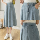 skirt Summer 2021 S,M,L,XL Picture color Mid length dress commute High waist A-line skirt Solid color Type A 18-24 years old GH 51% (inclusive) - 70% (inclusive) Denim cotton Korean version
