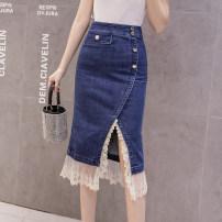 skirt Winter 2020 S,M,L,XL,2XL blue Mid length dress commute High waist skirt Solid color Type A 25-29 years old DF 51% (inclusive) - 70% (inclusive) Denim cotton Korean version
