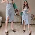 skirt Summer 2021 S,M,L,XL Picture color longuette commute High waist A-line skirt Solid color Type H 18-24 years old DF 51% (inclusive) - 70% (inclusive) Denim Korean version