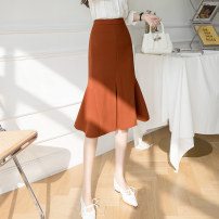 skirt Spring 2021 S,M,L,XL Black, Caramel Mid length dress commute High waist Ruffle Skirt Solid color Type A 25-29 years old DF 71% (inclusive) - 80% (inclusive) Korean version