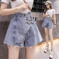 Jeans Summer 2021 wathet S,M,L,XL shorts High waist Wide legged trousers routine 18-24 years old Button other Dark color GH 51% (inclusive) - 70% (inclusive)