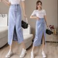 skirt Summer 2021 S,M,L,XL,2XL wathet Mid length dress commute High waist A-line skirt Solid color Type A 18-24 years old DF 51% (inclusive) - 70% (inclusive) Denim cotton Korean version