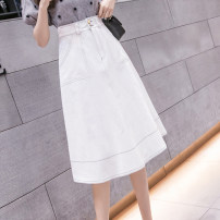 skirt Summer 2021 S,M,L,XL White, black Mid length dress commute High waist Umbrella skirt Solid color Type A 18-24 years old GH 51% (inclusive) - 70% (inclusive) Denim other Splicing Korean version
