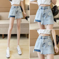 Jeans Summer 2021 Picture color skirt S,M,L,XL Super shorts High waist Wide legged trousers Thin money 18-24 years old Make old Cotton denim light colour GH 51% (inclusive) - 70% (inclusive)