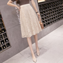 skirt Summer 2021 S,M,L,XL Apricot, black Middle-skirt commute High waist A-line skirt Solid color Type A 18-24 years old GH 51% (inclusive) - 70% (inclusive) Lace other Hollowing out Korean version