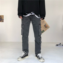 Jeans Youth fashion Others S,M,L,XL,2XL Smoky grey Micro bomb trousers Other leisure Four seasons youth Medium low back Loose straight tube tide 2019 Straight foot zipper cotton